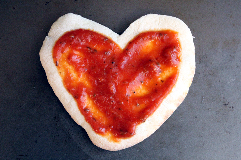 mini heart-shaped pizzas for Valentine's Day
