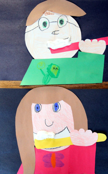 Students create a self portrait brushing their teeth, complete with puffy paint toothpaste!