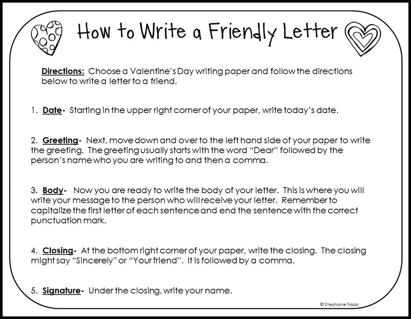 How To Write A Friendly Letter Free Printables - Primary Theme Park