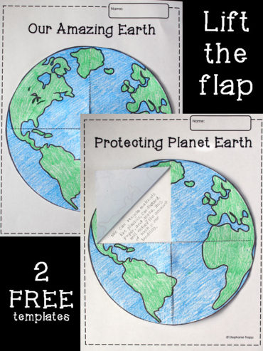 Earth Lift-the-Flap Printable Template. Perfect Earth Day or Solar System Activity.