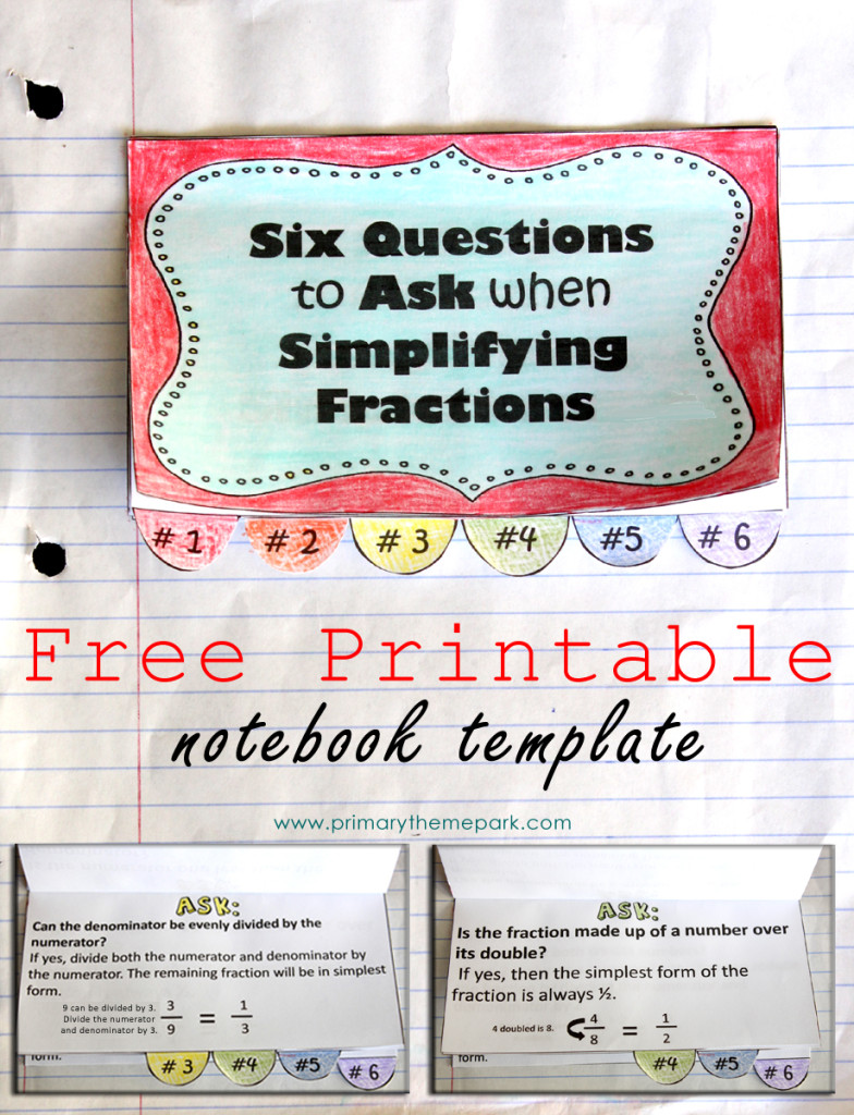 Simplifying Fractions Notebook Template Printable and Worksheet