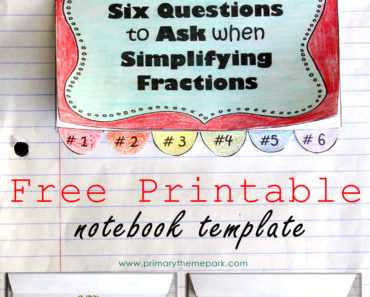 Six Questions to Ask When Simplifying Fractions with Printable Template