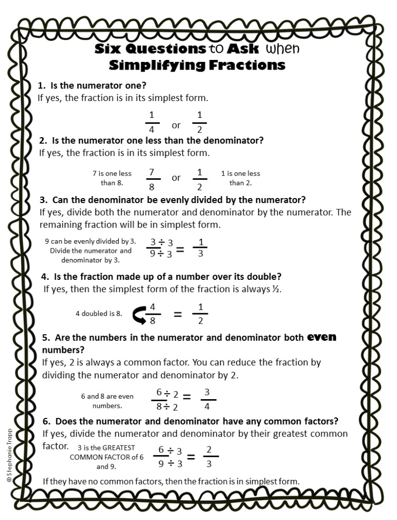 Simplifying Fractions Worksheet Printable