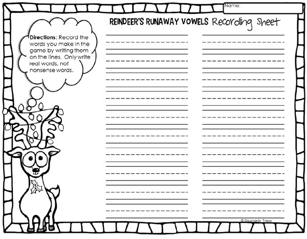 "Christmas Reading Activity: ""Reindeer's Runaway Vowels"" Printable Game"