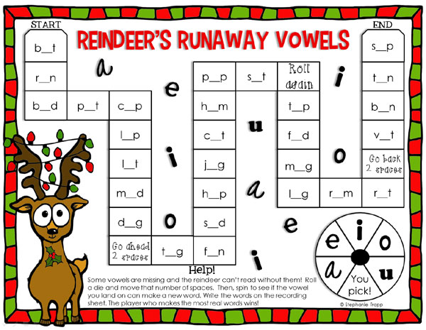 "Christmas Reading Game Printable: ""Reindeer's Runaway Vowels"""