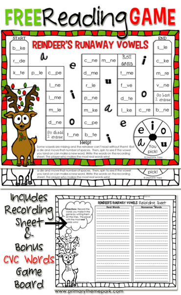 Students will love practicing making cvce and cvc words with the free printable Christmas reading game!
