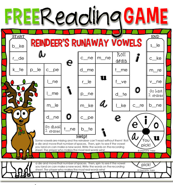 Free Christmas Reading Game Printable for CVC and CVCe Words