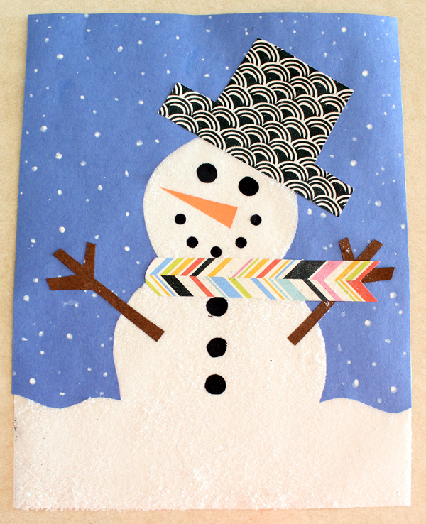 Snowman craft: Textured snowman made from kosher sea salt looks just like a real snowman!