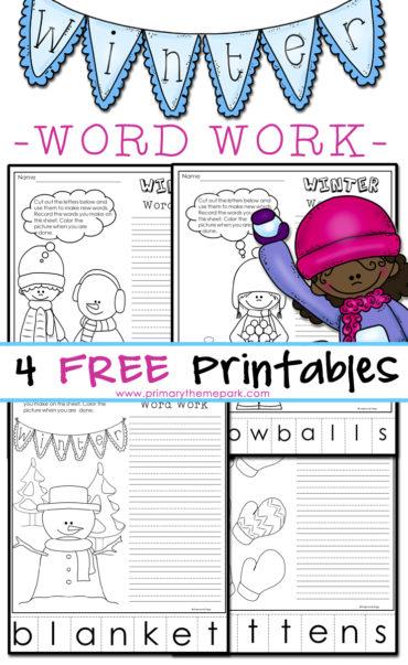 Free Winter Word Work Printables