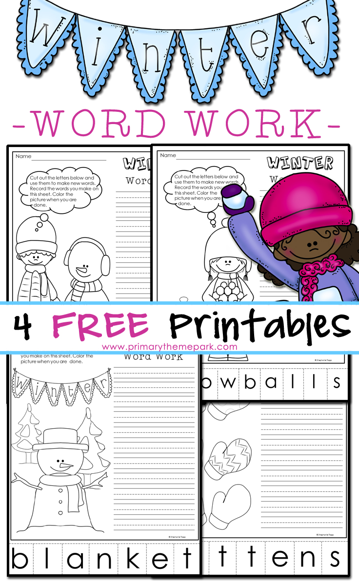 Winter Phonics Worksheets Making Words Primary Theme Park