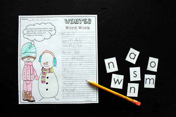 Winter Phonics Worksheet: Making Words Printables