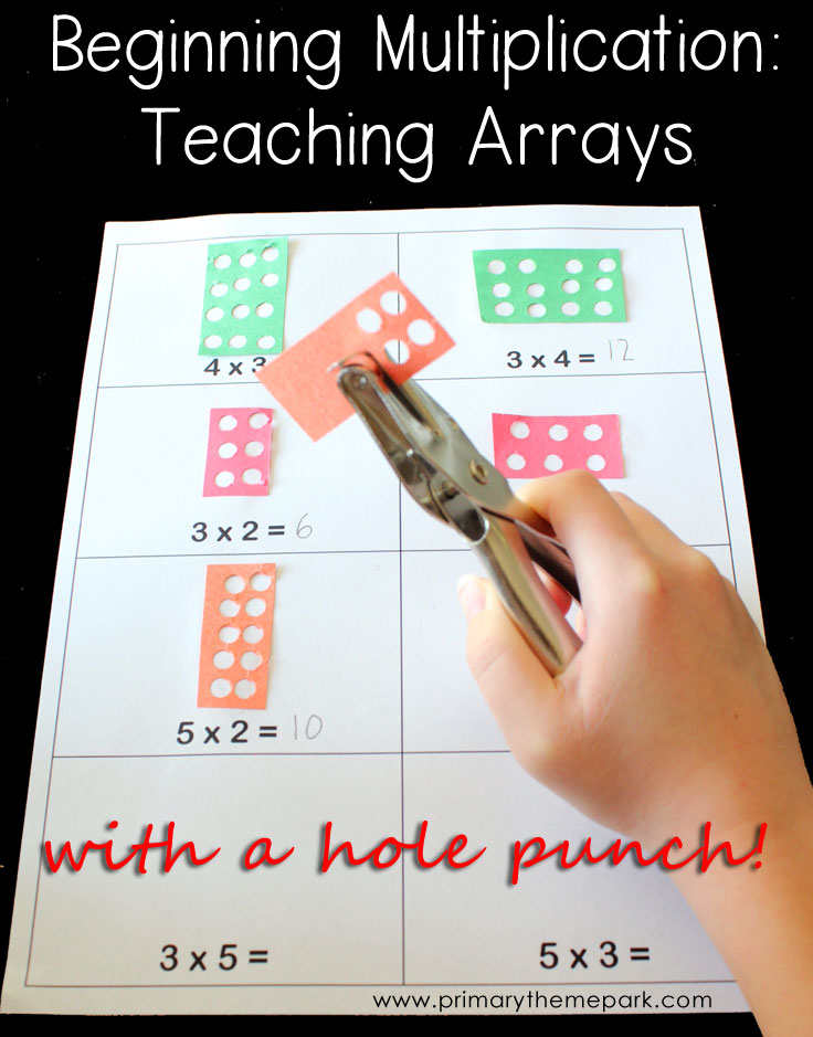 Multiplication arrays with a hole punch
