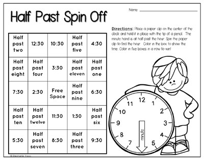 Time Activities For First Grade - Primary Theme Park