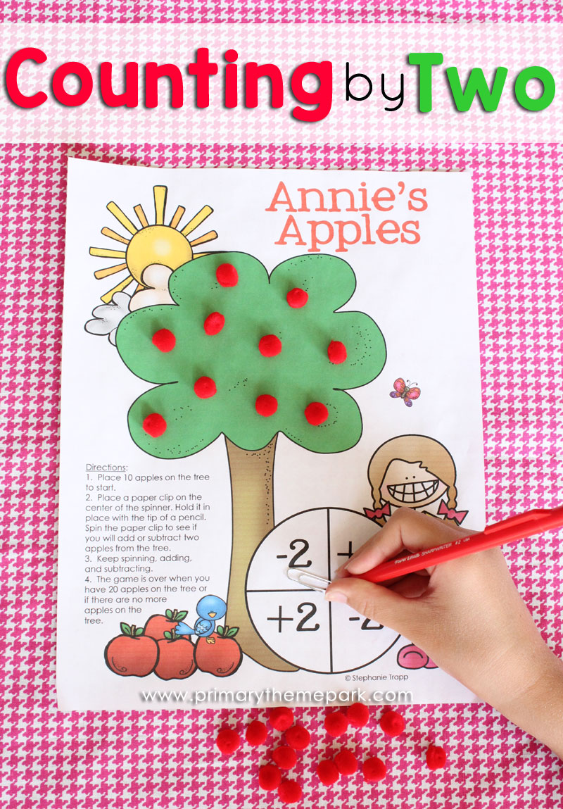 Apple Activities :: Counting by Two Math Game