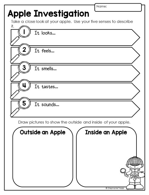 Unit for Kindergarten and First Grade – Apple Worksheets for Kindergarten