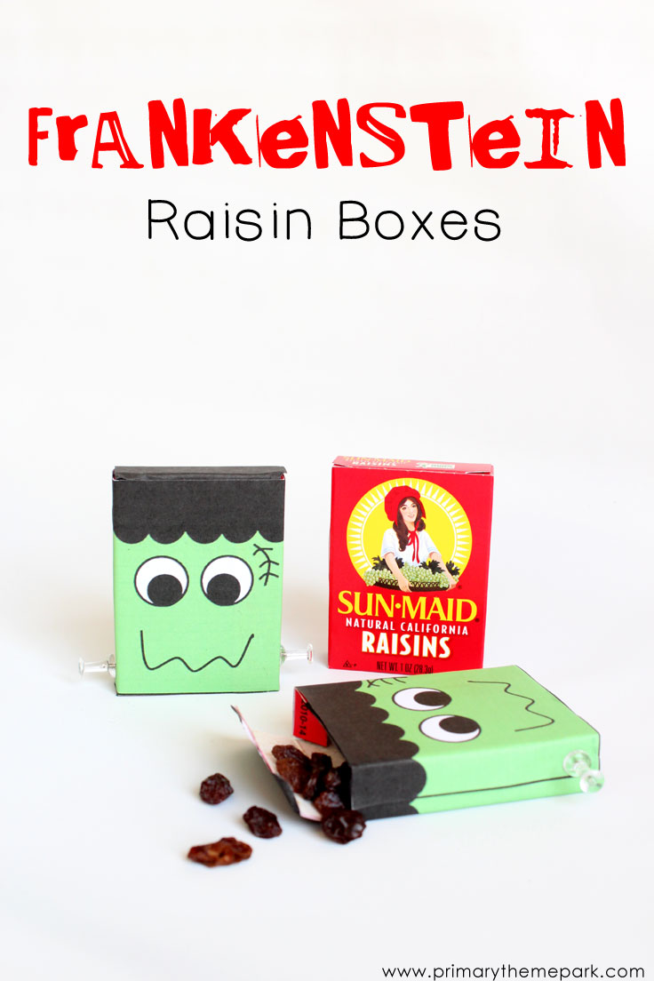 Halloween Crafts for Kids: Frankenstein Raisin Boxes with FREE printable template