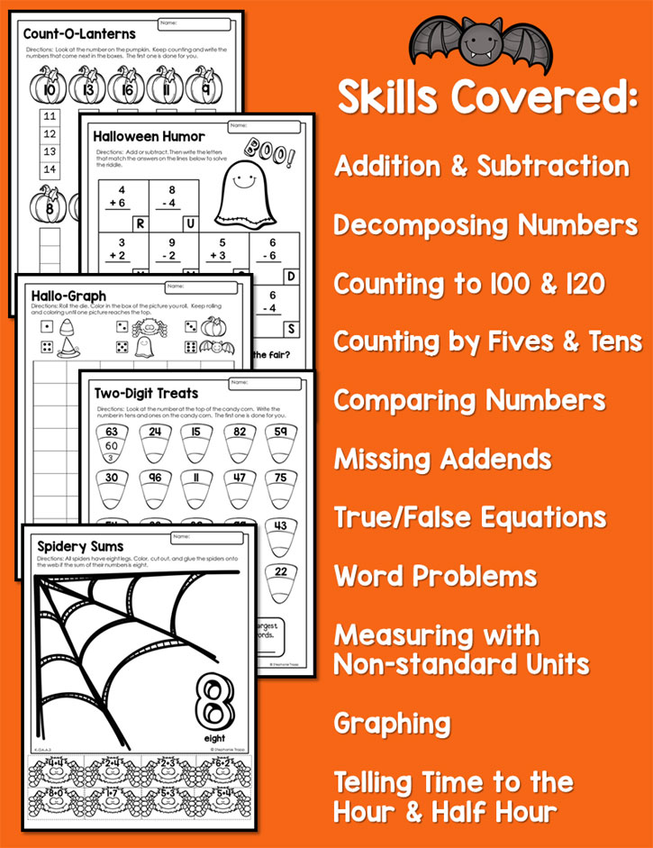 Halloween Math Activities Primary Theme Park – Halloween Math Worksheets First Grade