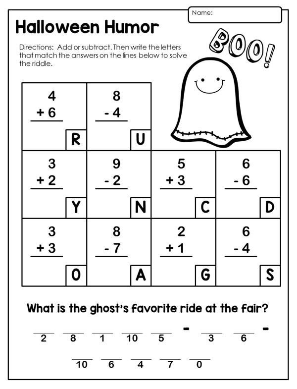 Halloween Math Worksheets First Grade Free Worksheets Library ...