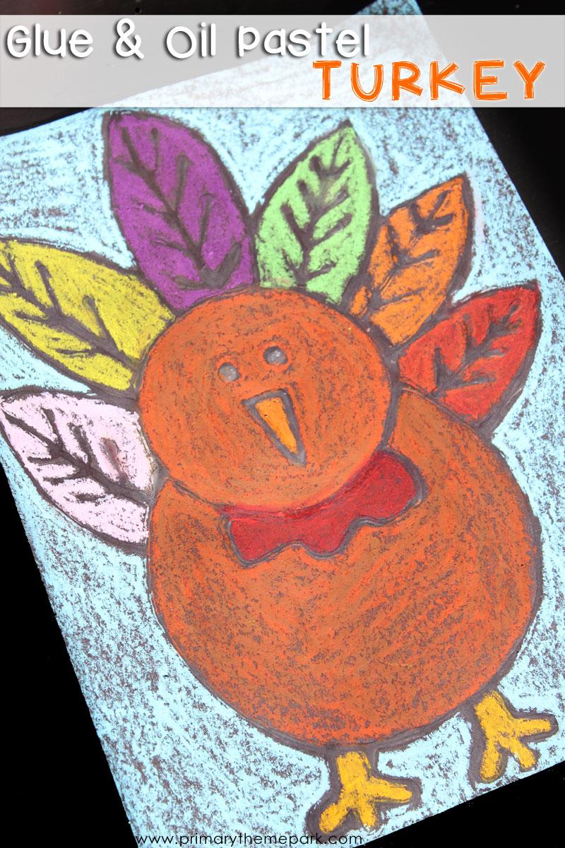 Glue and Oil Pastel Turkey Craft