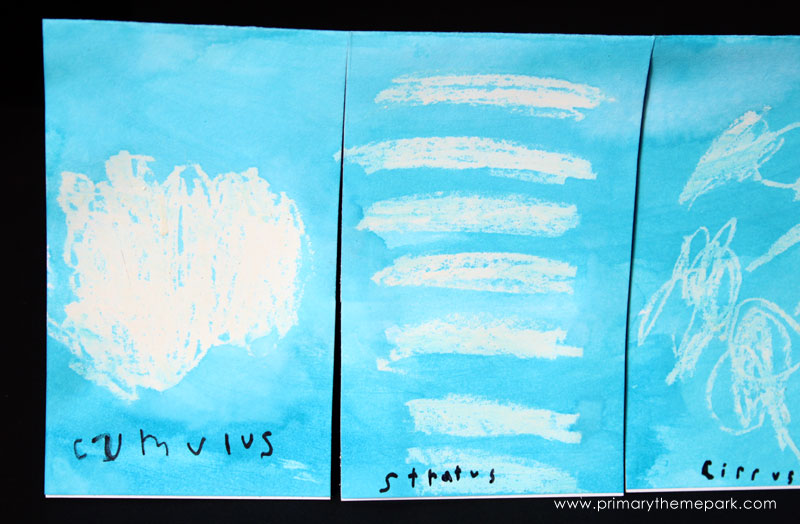 Cloud Activities for Kids :: Crayon and Wax Resist Clouds