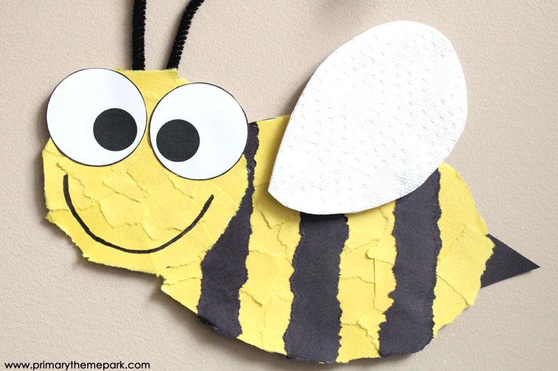 Torn paper bee craft with free printable template. These make an adorable hallway display!
