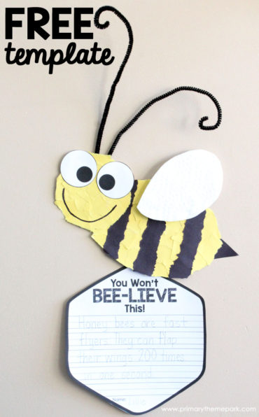 Free Printable Torn Paper Bee Template and Writing Activity
