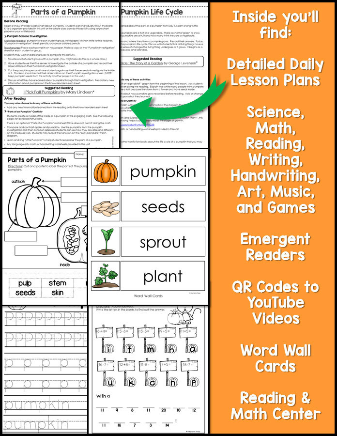 Pumpkin Unit for Kindergarten and First Grade
