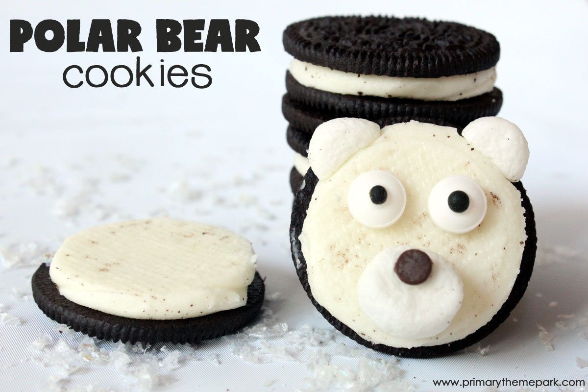 Four ingredients is all it takes to make these adorable polar bear cookies! Perfect treat for a winter unit on arctic animals.