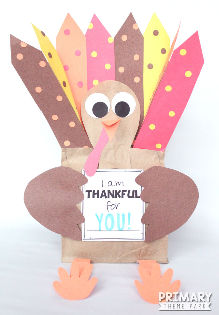 Make this stuffed paper bag turkey craft using the free printable templates. A fun Thanksgiving activity for kids!