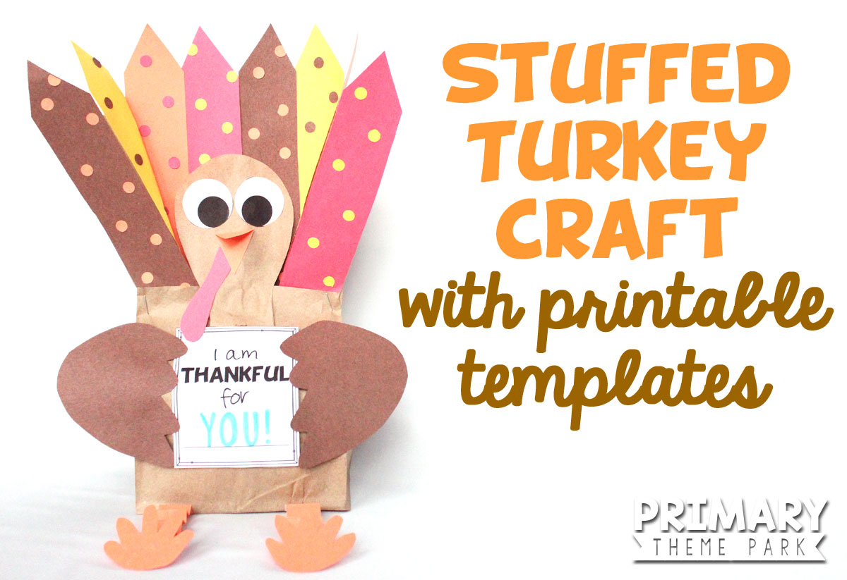 Make this adorable stuffed paper bag turkey craft using the free printable templates. A fun Thanksgiving activity for kids!
