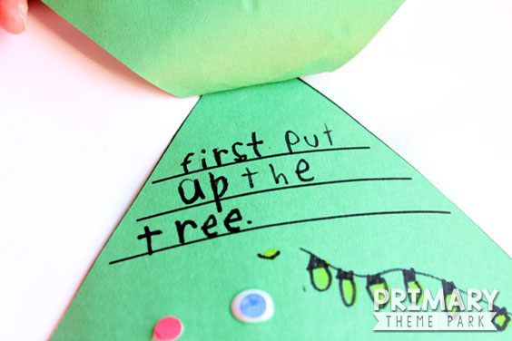 FREE Christmas Writing Activity :: Students write the steps to decorating a Christmas tree under each flap and then decorate the tree. Perfect for grade K-2.