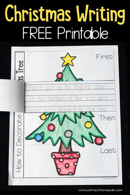 How to Decorate a Christmas Tree Writing Prompt Free Printable #christmaswriting #christmasactivityforkids #christmaslearning