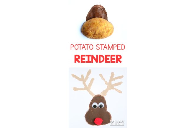 Need an adorable Christmas craft in a short amount of time? Make this easy potato stamped reindeer craft in just a few minutes!
