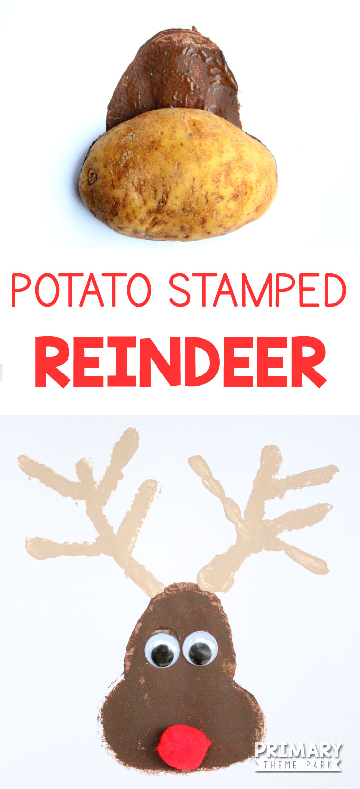 Want an adorable Christmas craft in a short amount of time? Make this easy potato stamped reindeer craft in just a few minutes!