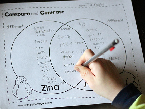 Compare and Contrast for First Grade | Compare and Contrast Activities | Polar Animals