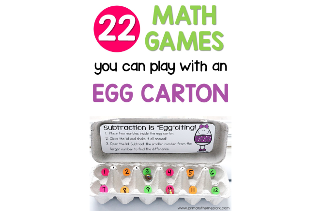 Egg Carton Math Games for First Grade. Perfect for Math Centers!