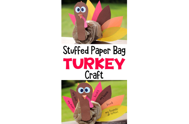 Stuffed Paper Bag Turkey Craft for Kids