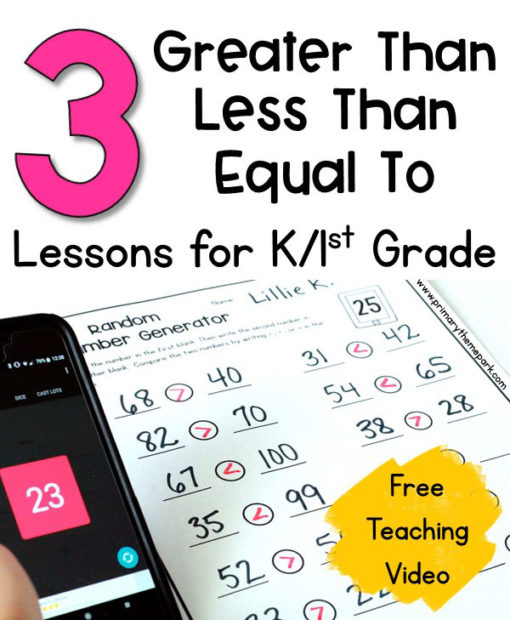 Three Greater Than Less Than Lessons for First Grade