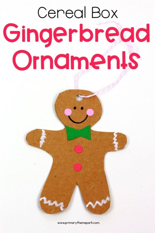 Cereal box gingerbread ornaments