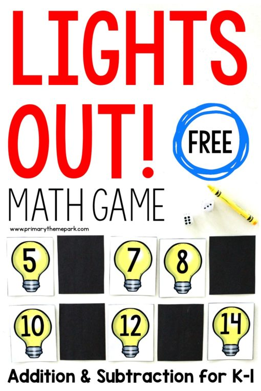 Lights Out! addition and subtraction math game for kindergarten and first grade