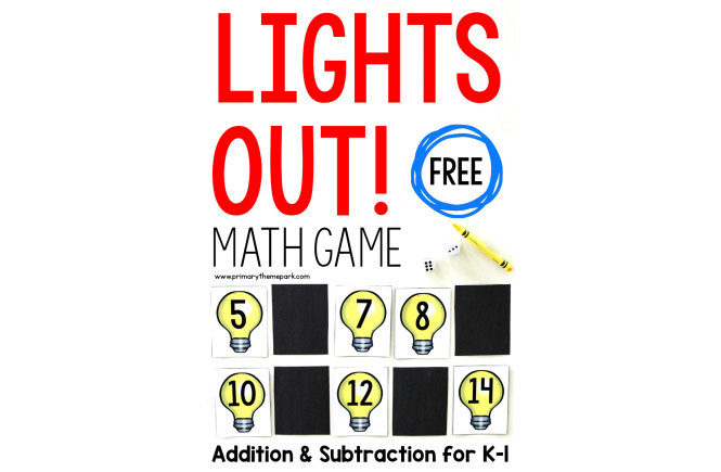 Addition and subtraction math game for kindergarten and first grade