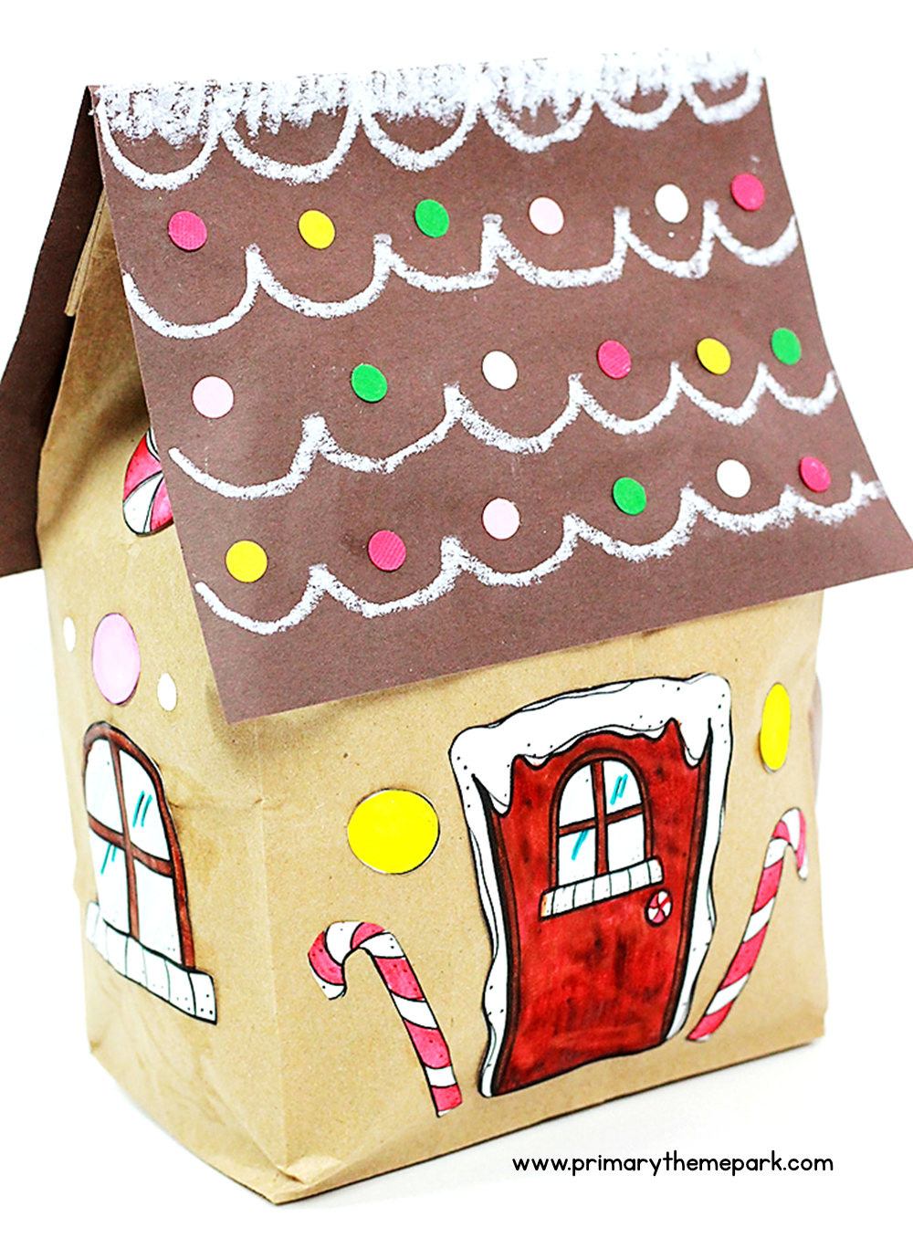 Paper lunch sack gingerbread house