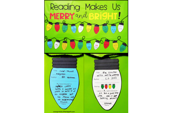 Reading Makes Us Merry and Bright Bulletin Board Idea for Elementary