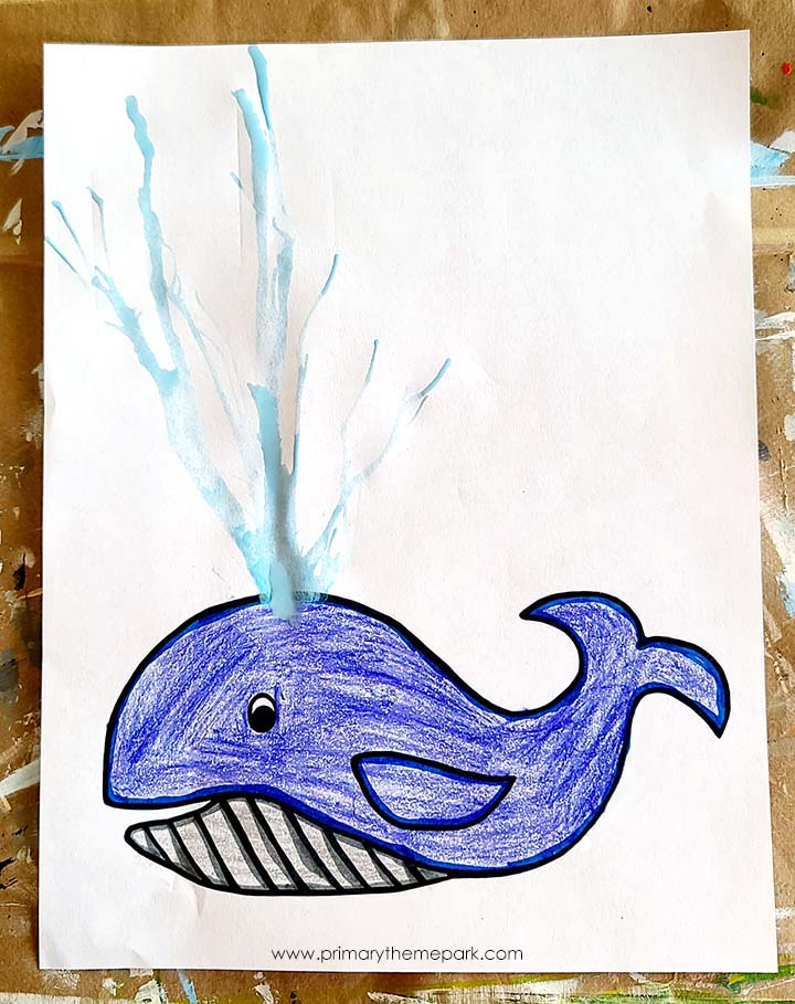 Whale art project for kindergarten and first grade