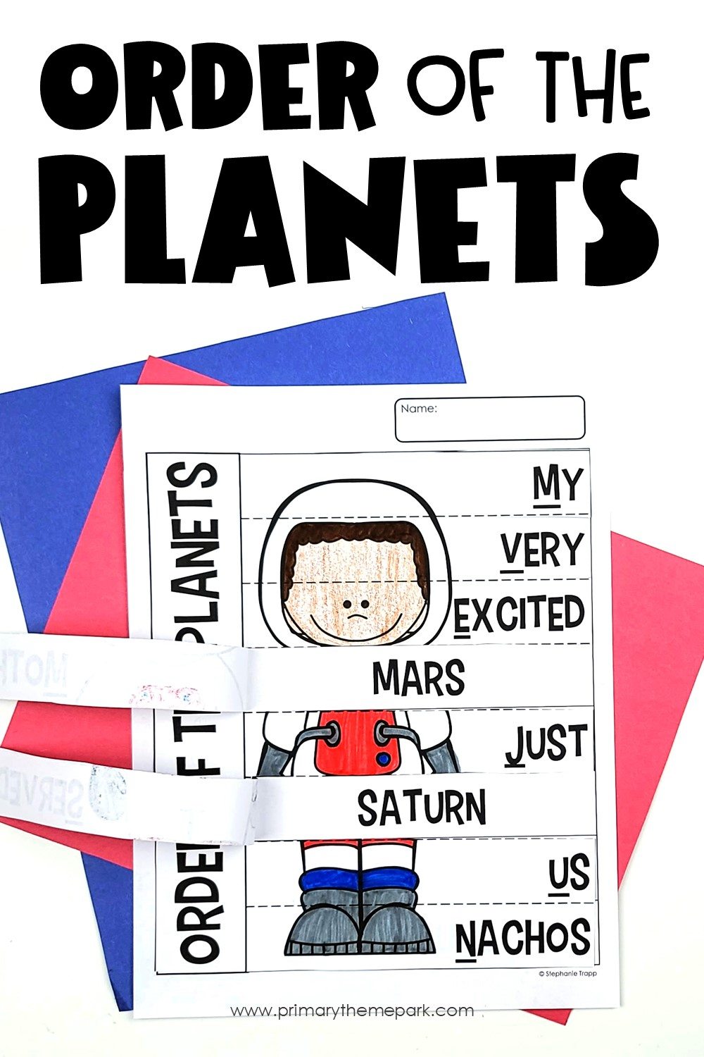 Order of the planets mnemonic device where students lift a flap to reveal the name of the planet that matches that word in the mnemonic device